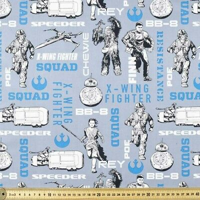 Fabric Star Wars the Brave Chewie Poe Grey Cotton Fat Quarter Quilting Material