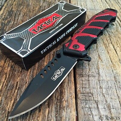 """RAZOR TACTICAL 8.5"""" Spring Assisted Open TACTICAL Rescue Pocket Knife BOWIE Red"""