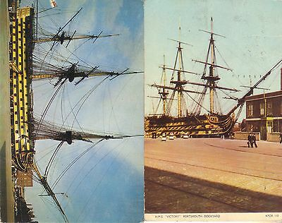 2 Old Vintage Postcards Of The H.m.s Victory