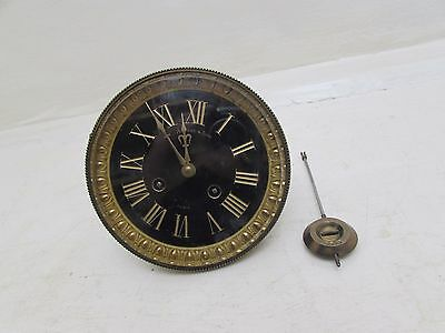 """Antique Large French Mantel/Slate Clock Movement For 5.25"""" Opening M.A & Co"""