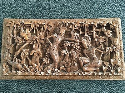 Antikes  Holzrelief-wohl Indien Indian 3D