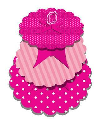 Pink And White Polka Dot Three Tier Cup Cake Display Stand Birthday Party