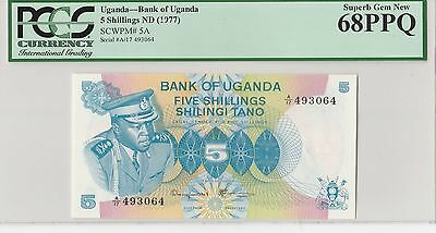 Pcgs Bank Of Uganda Nd (1977) 5 Shillings 68 Ppq