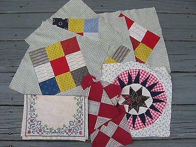Mixed Lot of 11 ~ Orphan Quilt Blocks ~ Embroidered Bureau Scarf ~