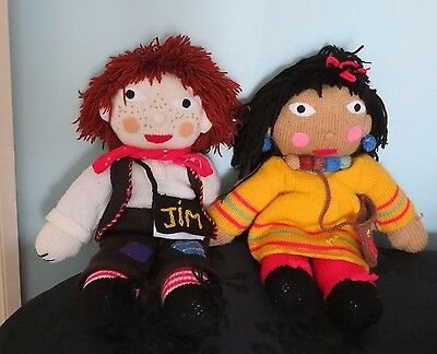 ROSIE AND JIM Lovely Handmade knitted Rag-doll Soft plush toys. Canal Boat