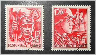 """#54 Germany 3rd Reich RARE LAST Nazistamps Mi. 909-910 """"SA-man+SS-man"""" 1945 used"""