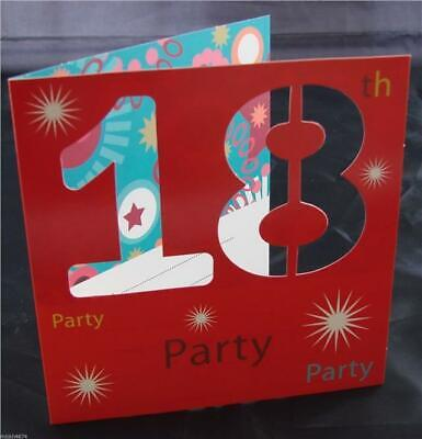 18th 3D Birthday Party Red Invitations 10 Invites And Envelopes