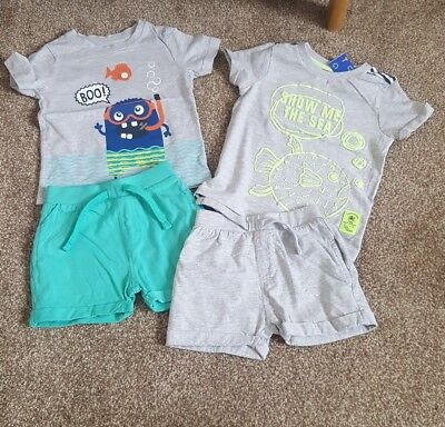 Nutmeg baby boys x2 shorts and t-shirt sets aged 12-18 months