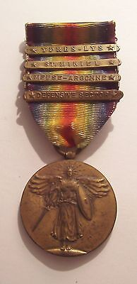 VINTAGE WW I Victory Medal with 4 Battle Bars