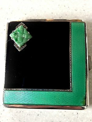 Beautiful Art Deco Solid Silver and Guilloche Enamel Cigarette Case