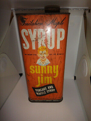 RARE Sunny Jim Syrup Tin from the peanut butter company scarce advertising CAN