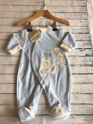 Unisex Baby Clothes Babygrows 0-3 Months- Cute Velour  Babygrow Outfit - New