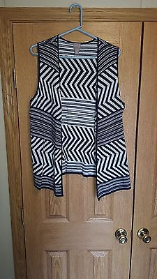 Chico's Open Front Vest Navy Blue & White Size 2 Chico's or Large / XL