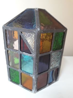 Heavy  Vintage  Leaded  Hexagonal  Lamp  Shade With Coloured Glass