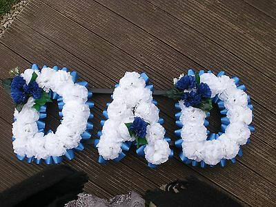 Artificial Funeral Tribute Flowers  Dad White & Blue All Ribbon Cols Available