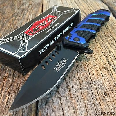 """RAZOR TACTICAL 8.5"""" Spring Assisted Open TACTICAL Rescue Pocket Knife BOWIE Blue"""