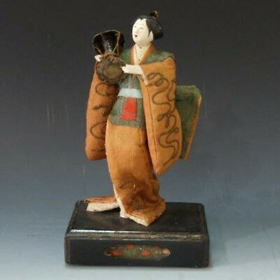 Edo era Taiko Antique drum holding Takeda doll 1670 year kimono Made in Japan