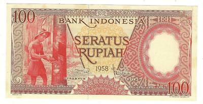 1958 Indonesia 100 Rupiah Currency Note- No Pinholes - UNC Condition (UU140)