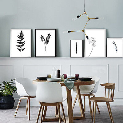 Black White Plant Leaves Nordic Canvas Poster Wall Art Prints Home Decor