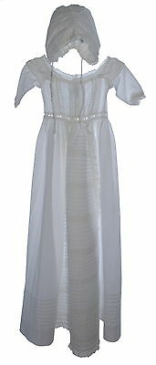 Marie Chantal White Cotton Christening Gown And Bonnet NWT SP £73