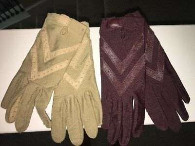 Lot: 2 Pairs Of Vintage ARIS Isotoner Gloves Maroon Tan