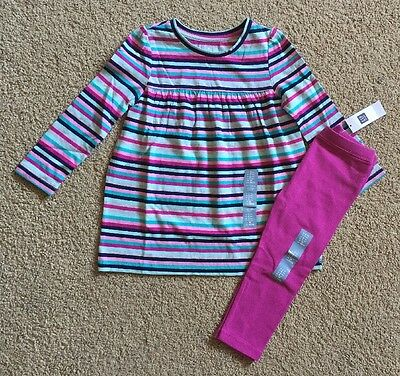 Toddler Girl Size 2 2T Baby Gap Pink Striped Tunic Top & Legging Outfit