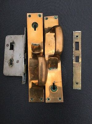 Antique Bronze Door Latches With Keyhole, Correct Mortise Lock And Plate
