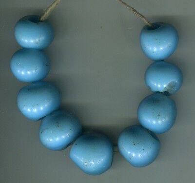 African Trade beads glass Vintage European glass sky blue beads Dogon