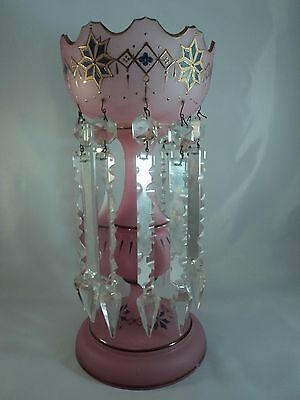 Antique Victorian Moser Pink Satin Enamel Painted Mantle Luster Hanging Prisms