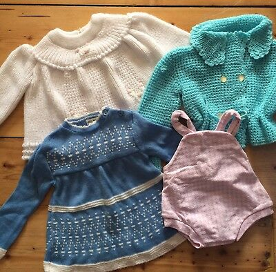 Vintage Baby Childrens Kids Clothes Bundle Job Lot. Sweater / Cardigan /Dress