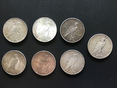 Lot of 7 United States Silver Peace Dollars No Reserve Free Shipping