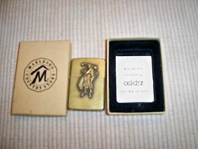 Vintage Brass Marlboro Zippo Lighter  - With Original Box And Papers !!!!