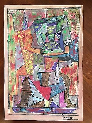 Original Cubist Watercolor Pastels Chalk Painting Signed Picasso Modern Abstract