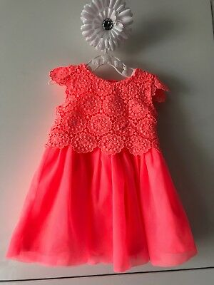 baby girl gorgoues neon coral lace & tutu net lined dress 3-6