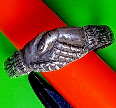 Beautiful Silver Antique Roman Ring Of Two Hands Holding Together