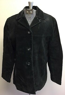 Women's Black New York & Co Long Sleeve Button Down Leather Coat Lined Jacket S
