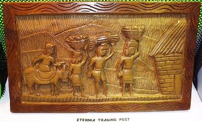 Vintage Antique TEAK Hand Carved Wood Wall Relief Panel Mural Frieze Tribal Art