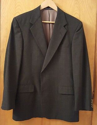 TOM JAMES Executive Collection Charcoal Glen Plaid Wool BESPOKE Suit 42R & 32x29