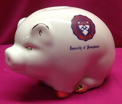 Vintage University of Pennsylvania Porcelain Piggy Bank Gold Trim