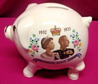 Queen Elizabeth II 1977 Jubilee Year Commemorative Bank Piggy Bank