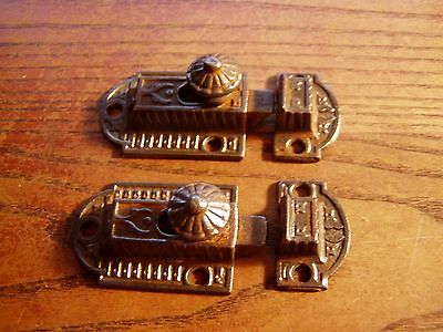 Matched Pair Antique 19th C Cast Iron  2 Piece Cabinet Cupboard Door Latch