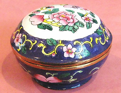 Cloisonne Cobalt Blue With  Pink Blossoms Covered Box - Lovely