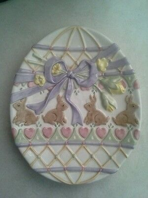 Fitz & Floyd Easter Bunny Plate  - Egg-Shaped Hand Painted (Preowned)