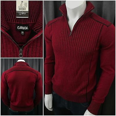 NWT Mens Medium Slim Fit Carbon Red & Black 1/2 Zip Knit Sweater Pullover Cotton