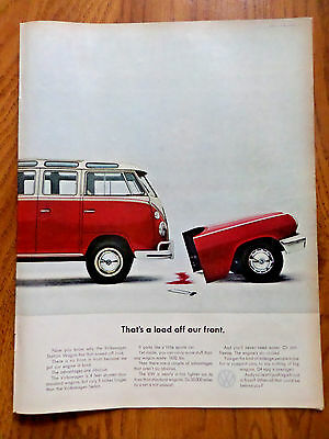 1963 VW Volkswagen Bus Ad That's a Load off our Front