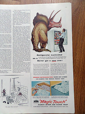 1960 Magic Touch Handi-Stor Ice Cube Tray Refrigerator Ad Triceratops