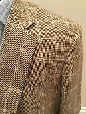 BROOKS BROTHERS Men's MADISON WINDOWPANE Wool Silk Coat Blazer 44S Retail $698