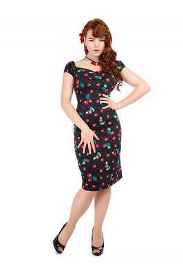 777b12105697 Collectif Cherry Print Dolores Black Pencil Dress Retro Pin Up Vintage Style