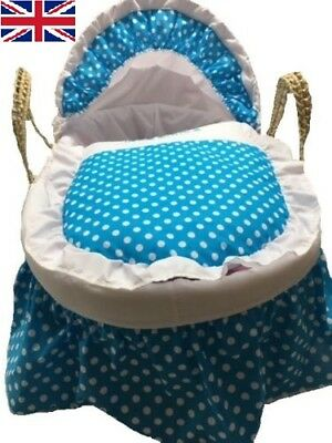 Mother Nurture Moses Basket Dressing in Blue, Black and Pink Colour