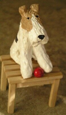 Wire Fox Terrier on a Wood BENCH!